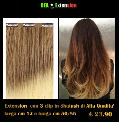Extension lisce con 3 clip in Shatush