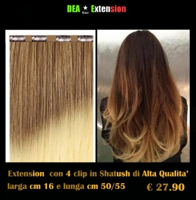 Extension lisce con 4 clip in Shatush
