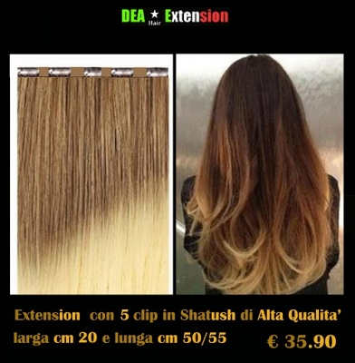 Extension lisce con 5 clip in Shatush